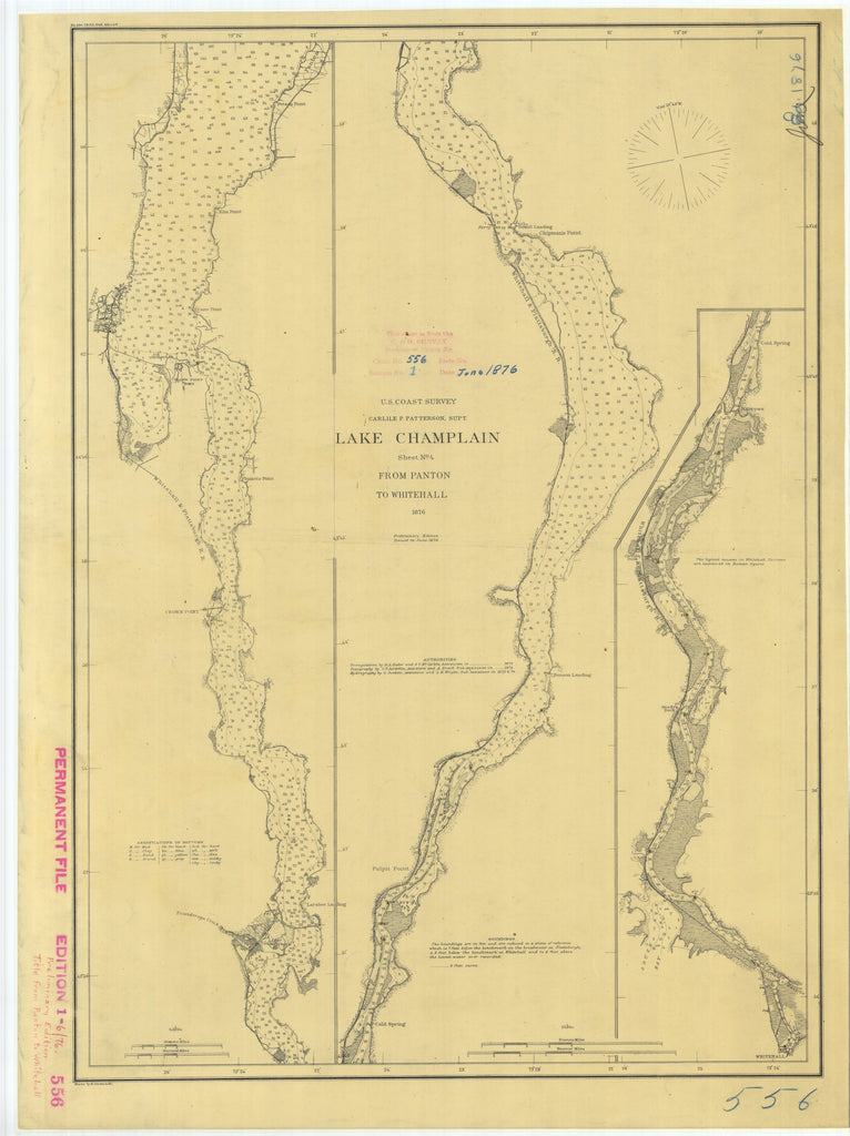 18 x 24 inch 1876 New York old nautical map drawing chart of Lake Champlain From Panton to Whitehall Sheet No. 4 From  U.S. Coast Survey x6926