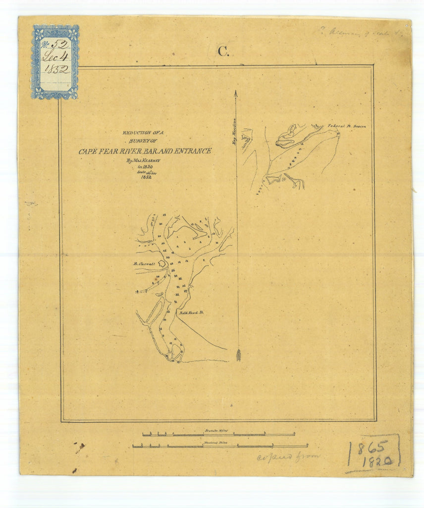 18 x 24 inch 1852 North Carolina old nautical map drawing chart of Reduction of a Survey of Cape Fear River Bar and Entrance From  Maj. Kearney x7136