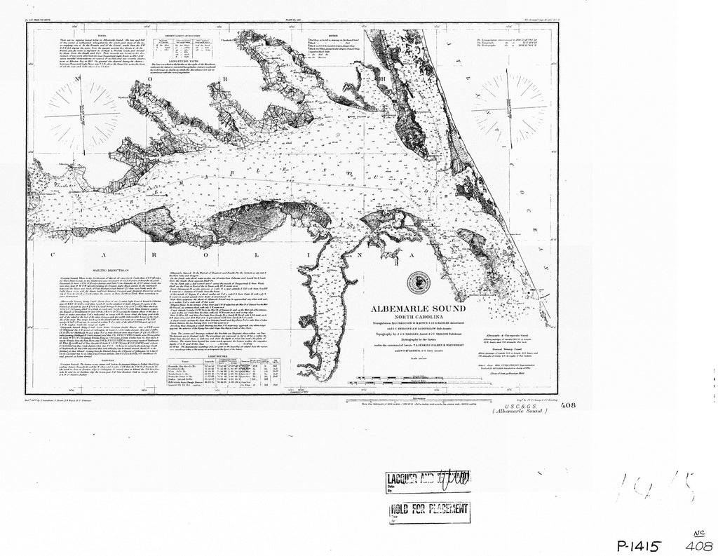 18 x 24 inch 1855 North Carolina old nautical map drawing chart of ALBEMARLE SOUND From  US Coast & Geodetic Survey x7151