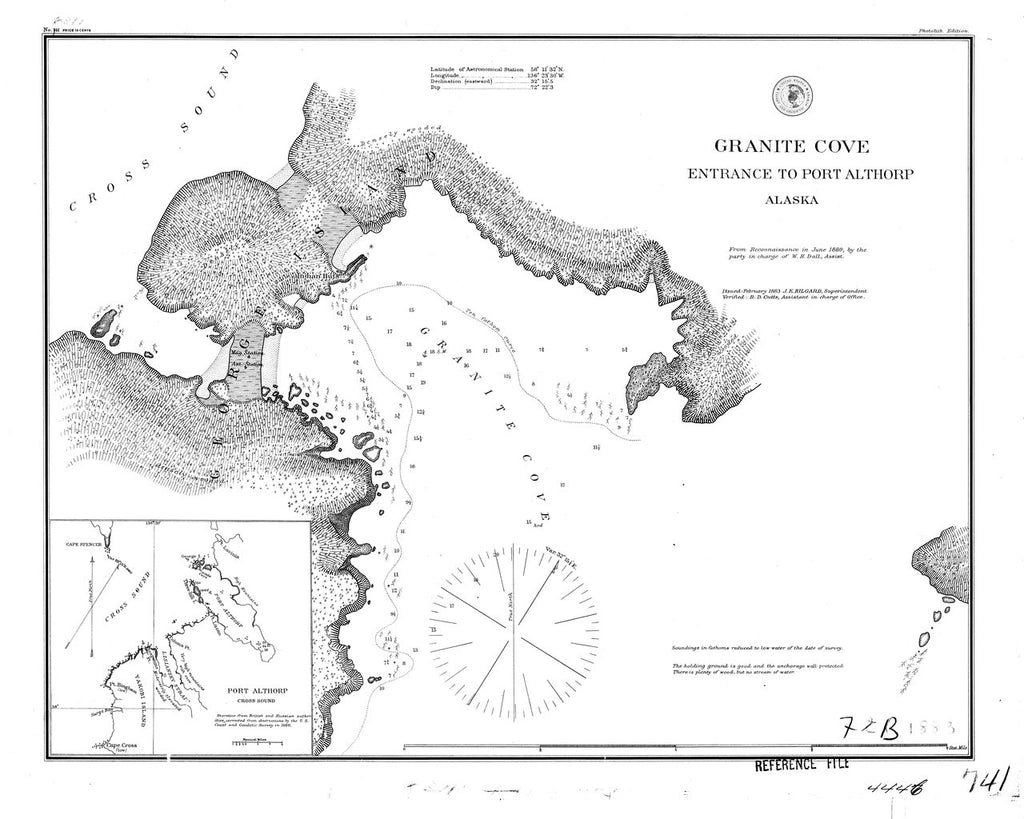 18 x 24 inch 1883 US old nautical map drawing chart of Granite Cove From  C&GS x11