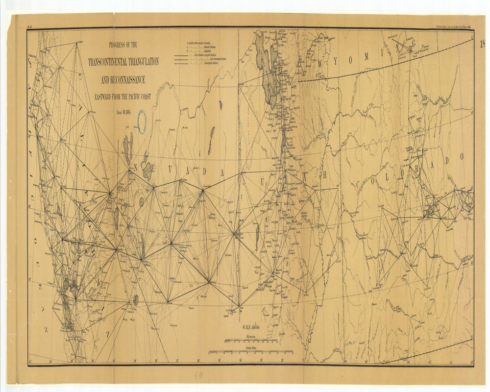 18 x 24 inch 1884 US old nautical map drawing chart of Progress of the Transcontinental Triangulation and Reconnaissance Eastward from the Pacific Coast From  US Coast & Geodetic Survey x133