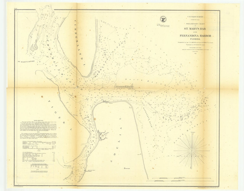 18 x 24 inch 1856 US old nautical map drawing chart of Preliminary Chart of Saint Mary's Bar and Fernandina Harbor, Florida From  U.S. Coast Survey x502