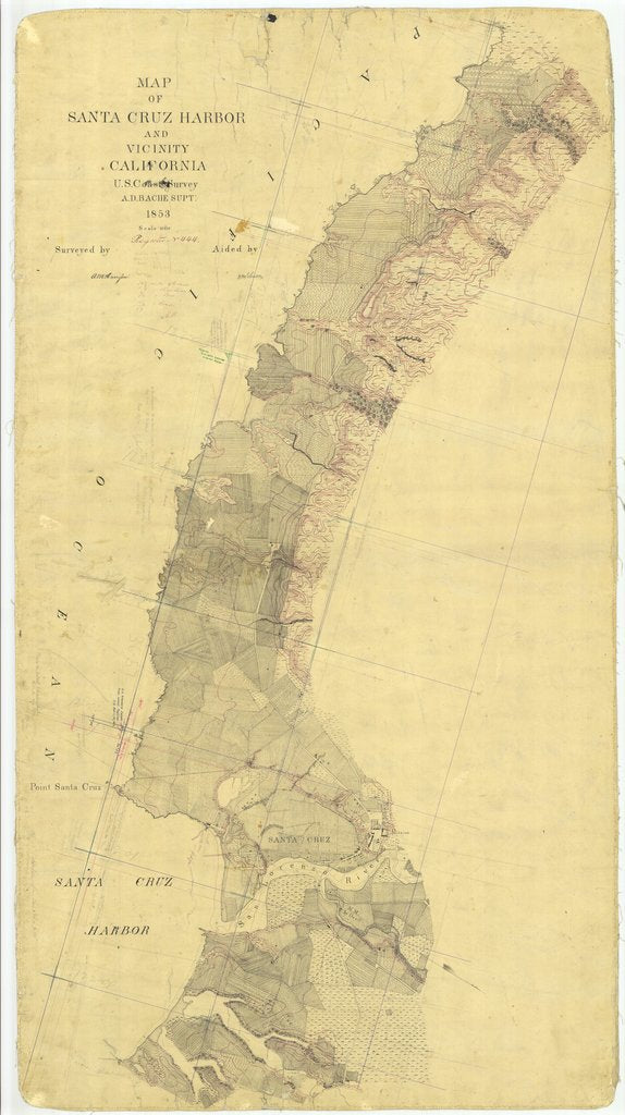 18 x 24 inch 1853 US old nautical map drawing chart of Santa Cruz Harbor and Vicinity, California From  U.S. Coast Survey x1272