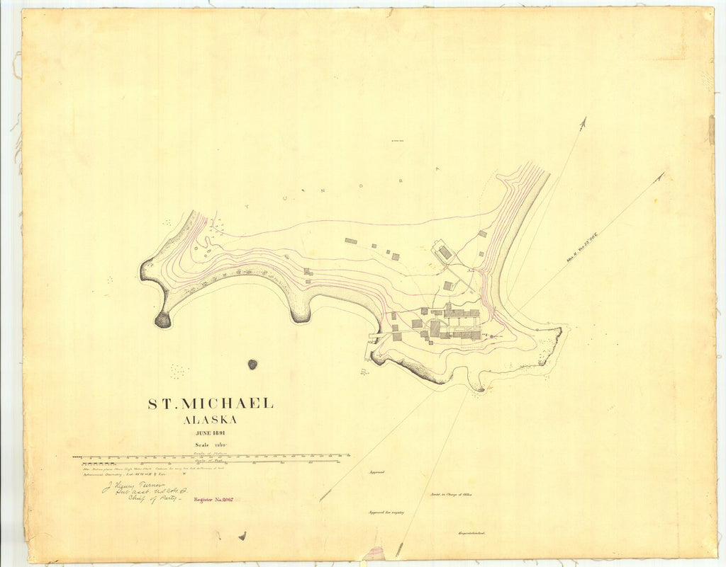 18 x 24 inch 1891 US old nautical map drawing chart of St. Michael Alaska From  US Coast & Geodetic Survey x203