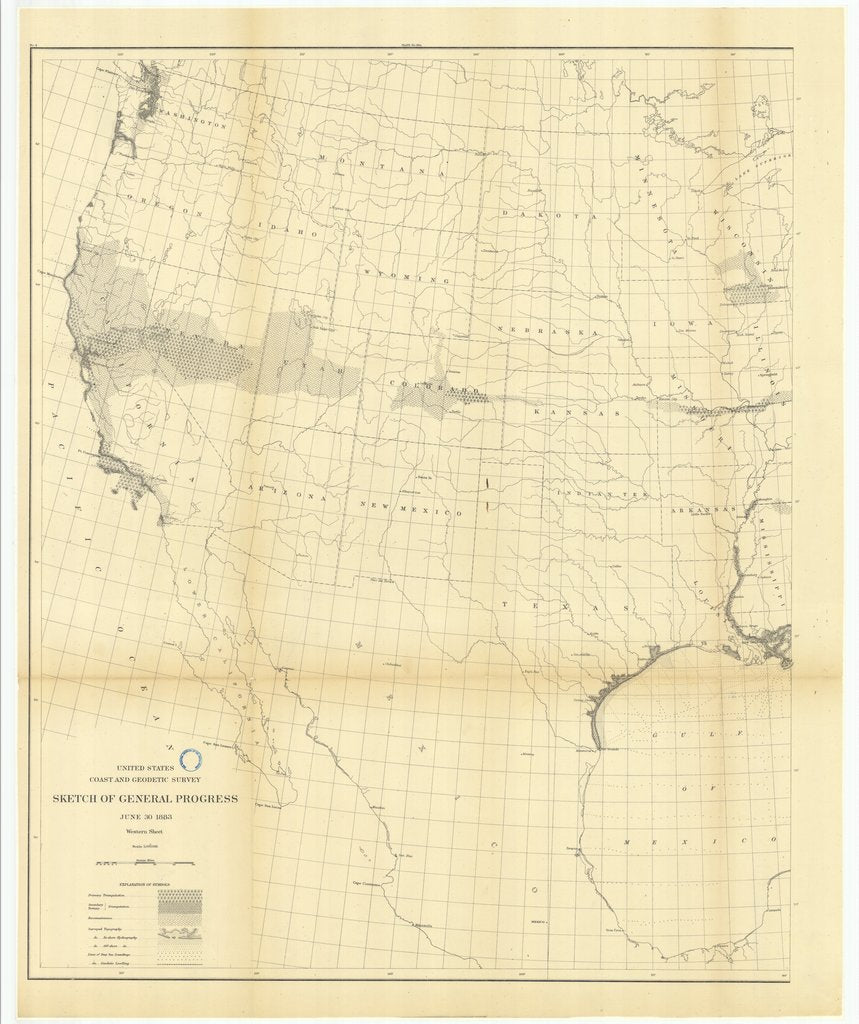 18 x 24 inch 1883 US old nautical map drawing chart of Sketch of General Progress, June 30, 1883, Western Sheet From  US Coast & Geodetic Survey x103