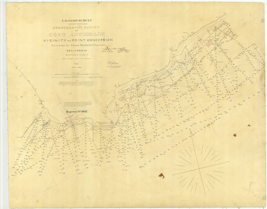 18 x 24 inch 1869 US old nautical map drawing chart of Hydrographic Survey of Coxo Anchorage Vicinity of Point Conception From  U.S. Coast Survey x1705