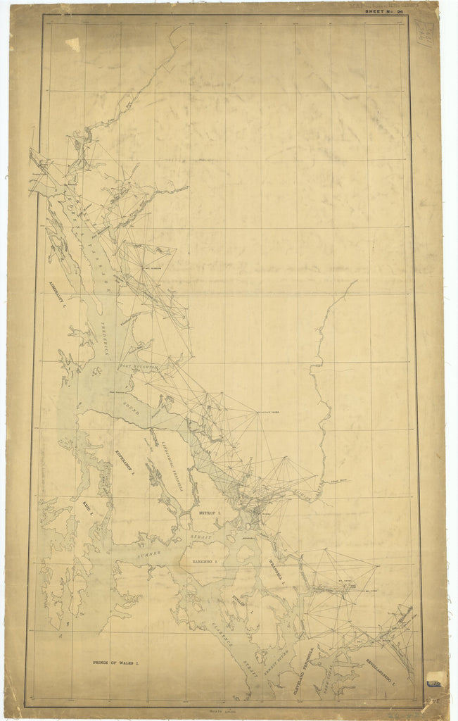 18 x 24 inch 1895 US old nautical map drawing chart of Sheet #26 From  Department of the Interior x2621