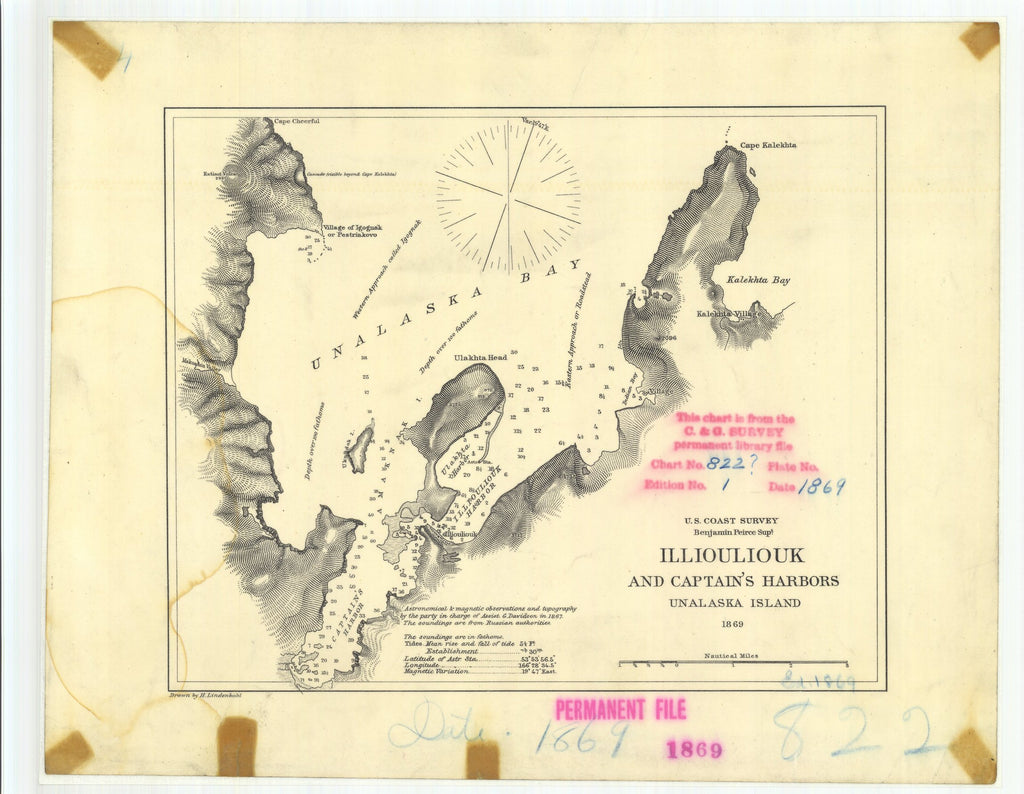 18 x 24 inch 1869 US old nautical map drawing chart of Illiouliouk and Captains Harbors Unalaska Island From  U.S. Coast Survey x1787