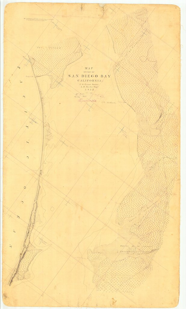 18 x 24 inch 1852 US old nautical map drawing chart of Part of San Diego Bay, CA From  U.S. Coast Survey x1263