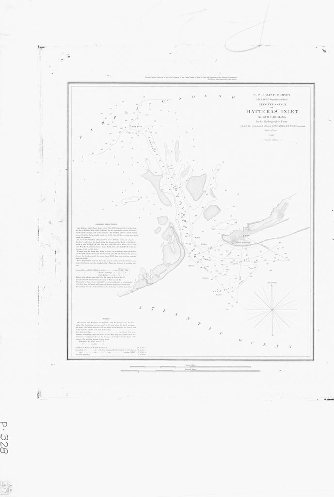 18 x 24 inch 1853 US old nautical map drawing chart of RECONNAISSANCE OF HATTERAS INLET From  U.S. Coast Survey x5502