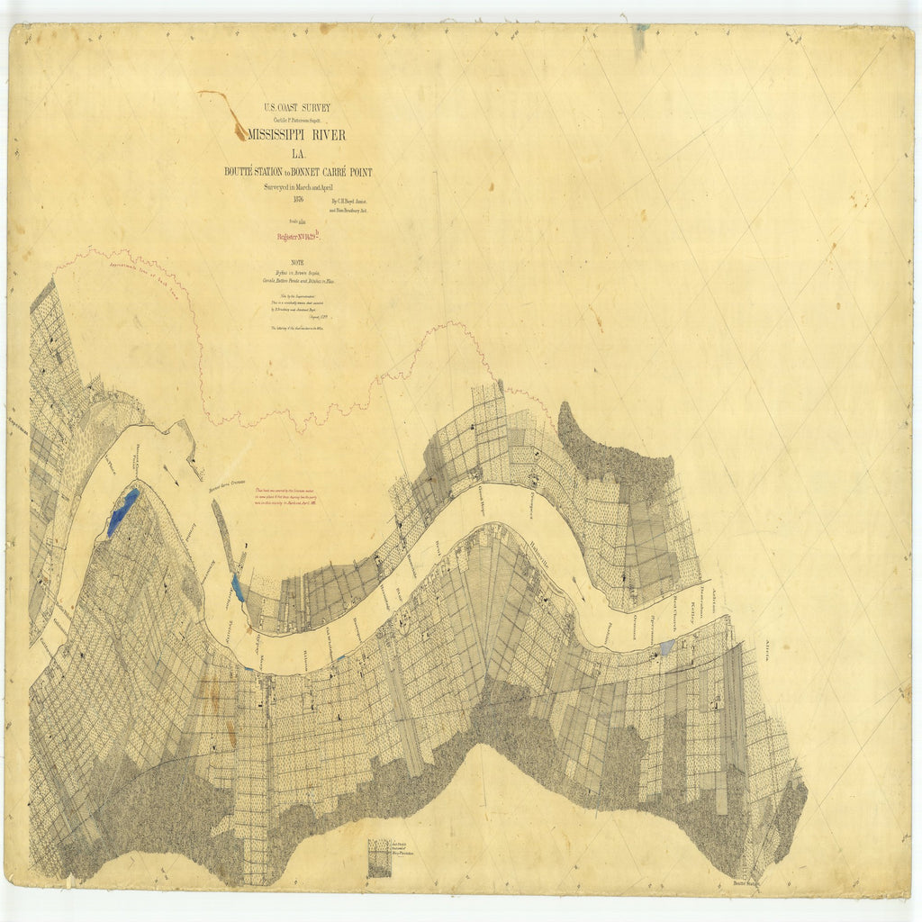 18 x 24 inch 1876 US old nautical map drawing chart of Boutte Station to Bonnet Carre Point, Louisiana From  U.S. Coast Survey x2323