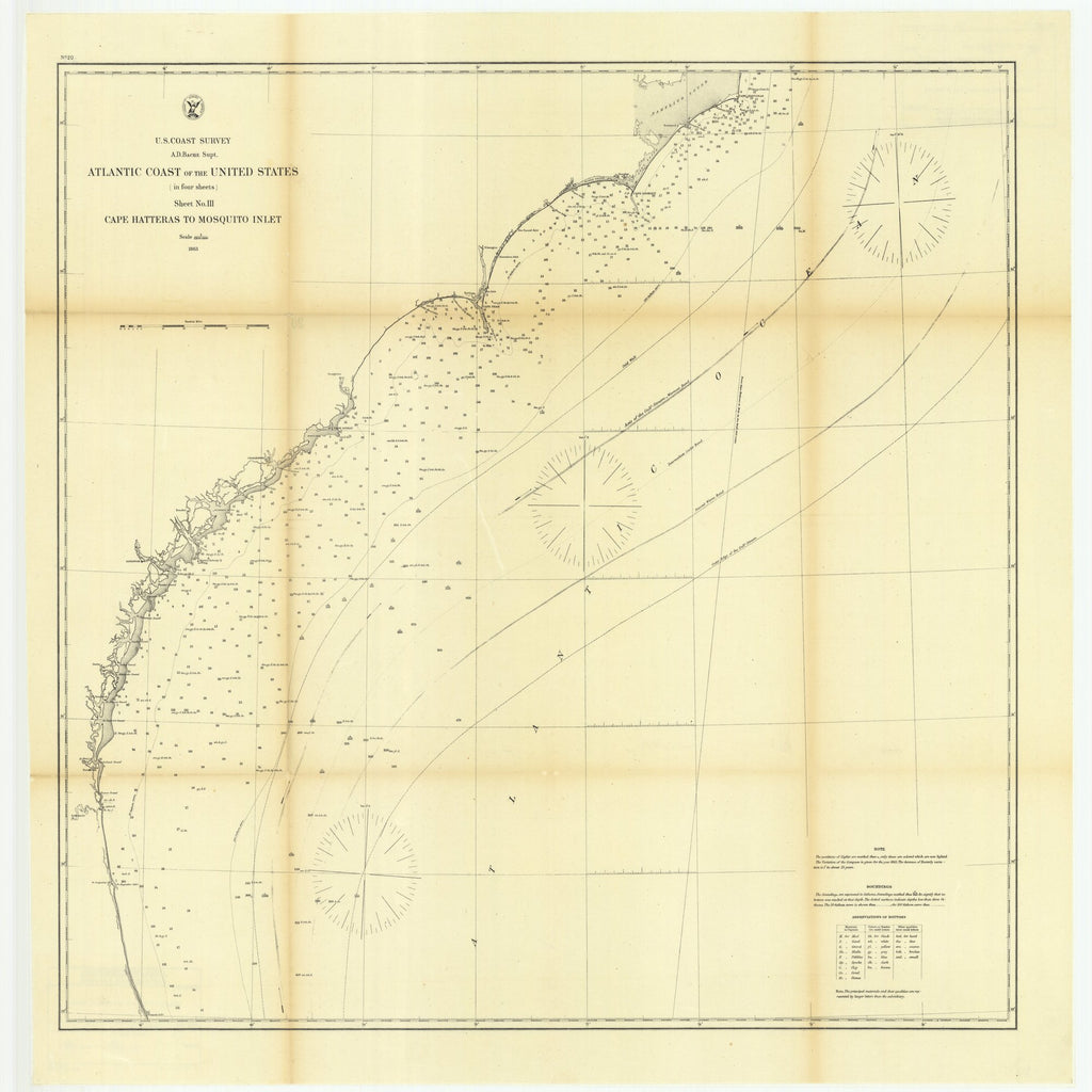 18 x 24 inch 1863 US old nautical map drawing chart of Atlantic Coast of the United States in Four Sheets, Sheet Number 3, Cape Hatteras to Mosquito Inlet From  U.S. Coast Survey x3250