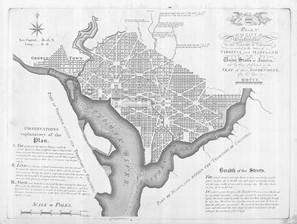 18 x 24 inch 1792 Maryland old nautical map drawing chart of PLAN OF THE CITY OF WASHINGTON IN THE TERRITORY OF COLUMBIA From  US Coast & Geodetic Survey x12217