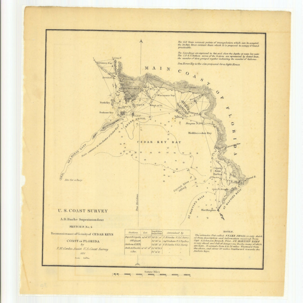 18 x 24 inch 1851 US old nautical map drawing chart of Sketch F Number 4 Reconnaissance of Vicinity of Cedar Keys, Coast of Florida From  U.S. Coast Survey x2574