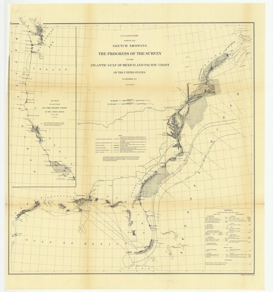 18 x 24 inch 1862 USA old nautical map drawing chart of Sketch Showing the progress of the Survey on the Atlantic Gulf of Mexico and Pacific Coast From  US Coast & Geodetic Survey x12030