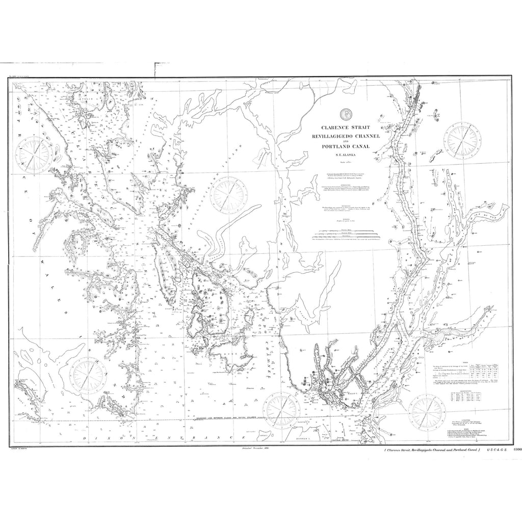 18 x 24 inch 1891 US old nautical map drawing chart of Clarence Strait : Revillagigedo Channel and Portland Canal From  NOAA x2643