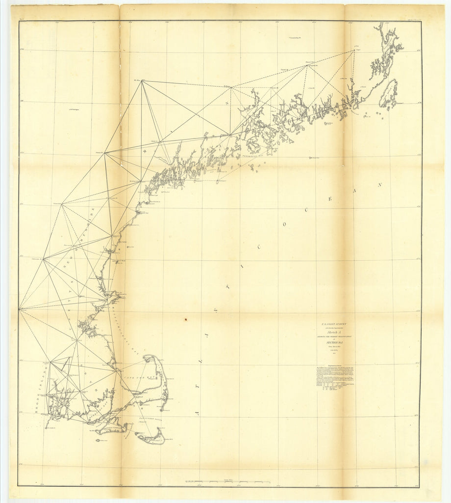 18 x 24 inch 1854 US old nautical map drawing chart of Sketch A Showing the Primary Triangulation in Section Number 1 From  U.S. Coast Survey x5847