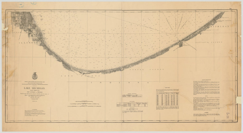 18 x 24 inch 1876 US old nautical map drawing chart of LAKE MICHIGAN, COAST CHART NO.5. NEW BUFFALO TO CHICAGO. From  Lake Survey x1796