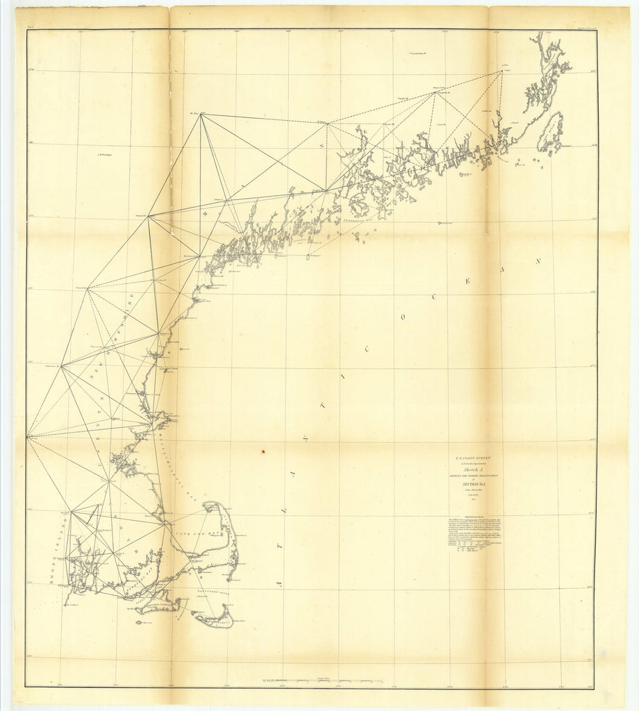 18 x 24 inch 1854 New Hampshire old nautical map drawing chart of Sketch A Showing the Primary Triangulation in Section Number 1 From   U.S. Coast Survey x6270