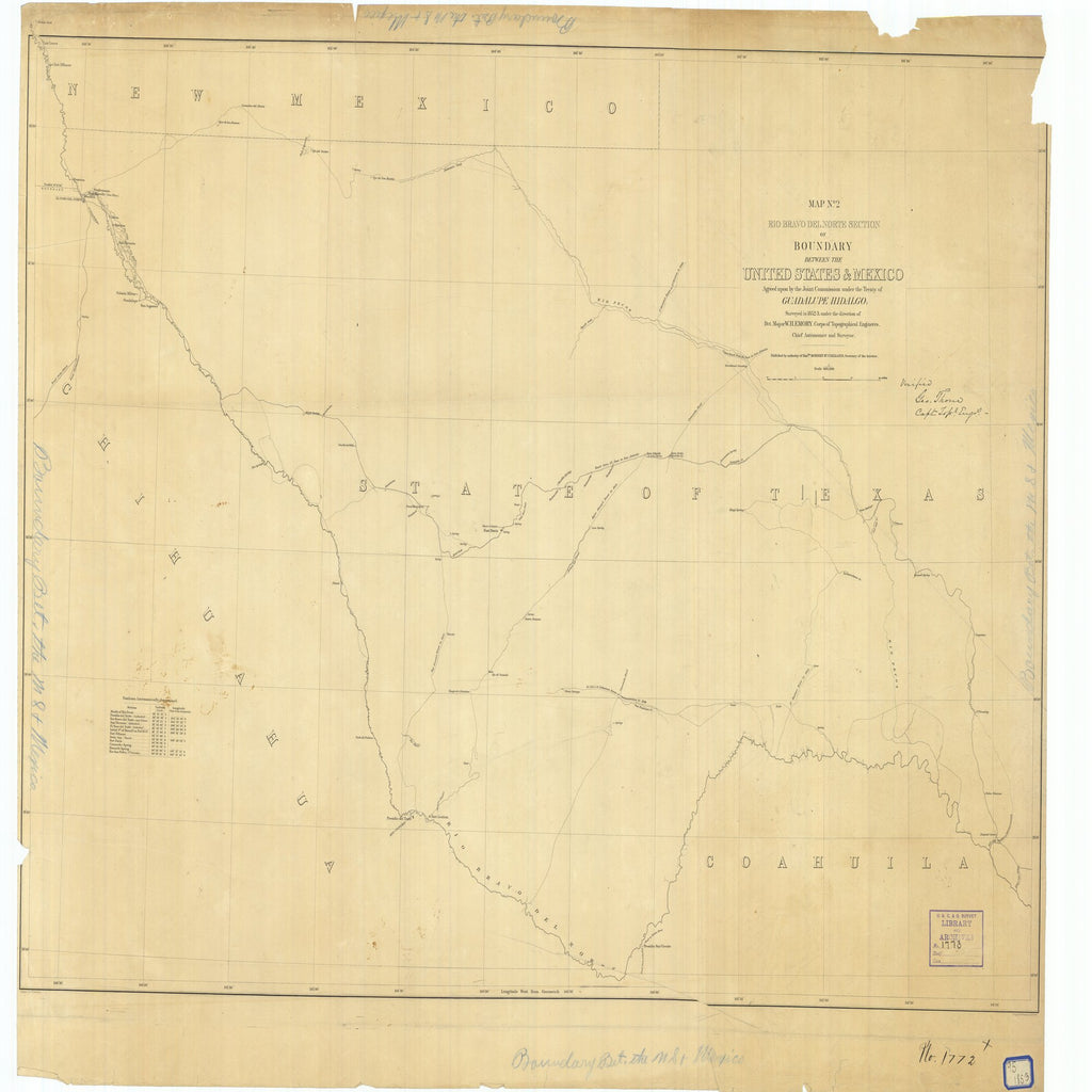 18 x 24 inch 1853 Texas old nautical map drawing chart of Map Number 2 Rio Bravo del Norte Section of Boundary Between the United States and Mexico From  Corps of Topographical Engineers x11717