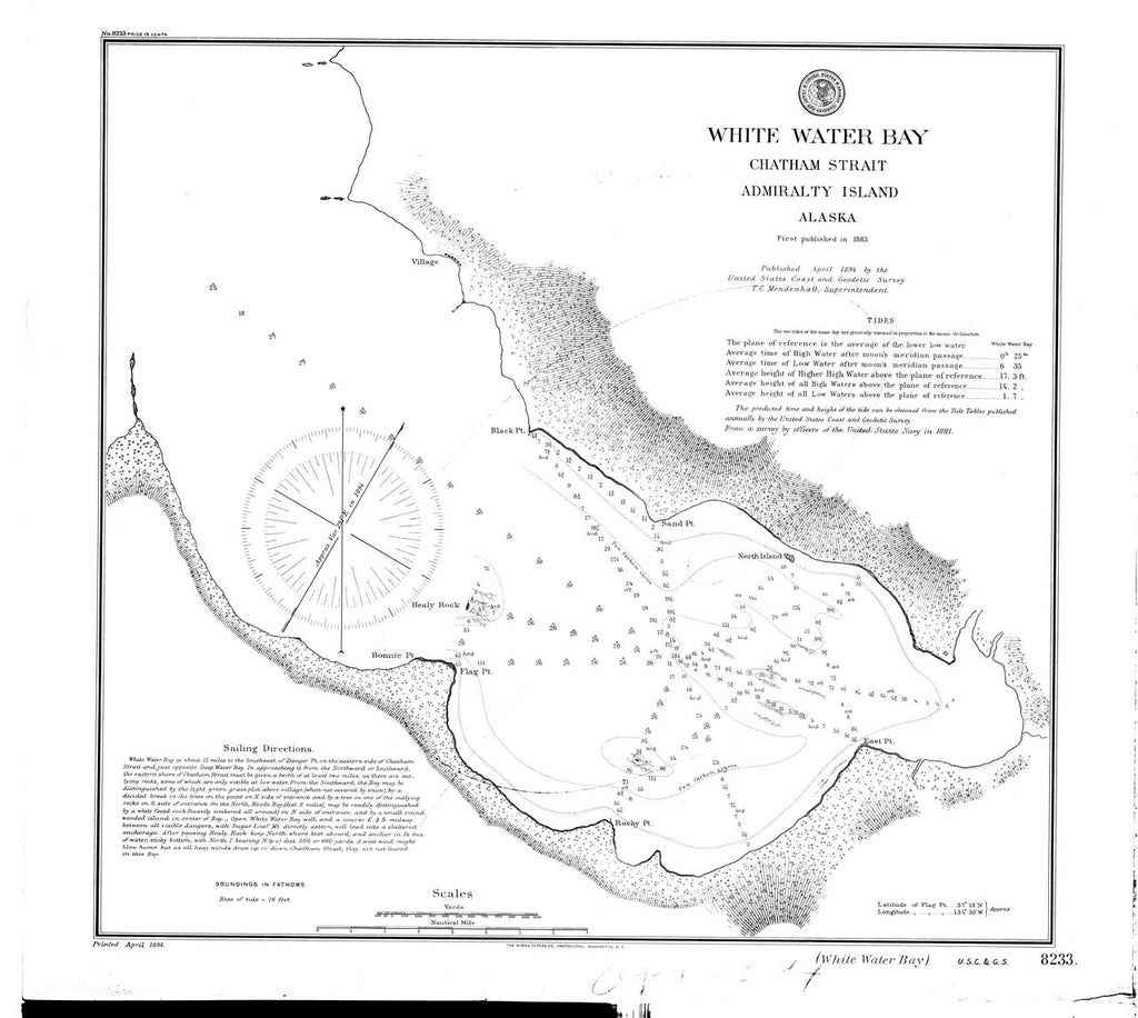 18 x 24 inch 1894 US old nautical map drawing chart of White Water Bay : Chatham Strait Admiralty Island From  US Coast & Geodetic Survey x322