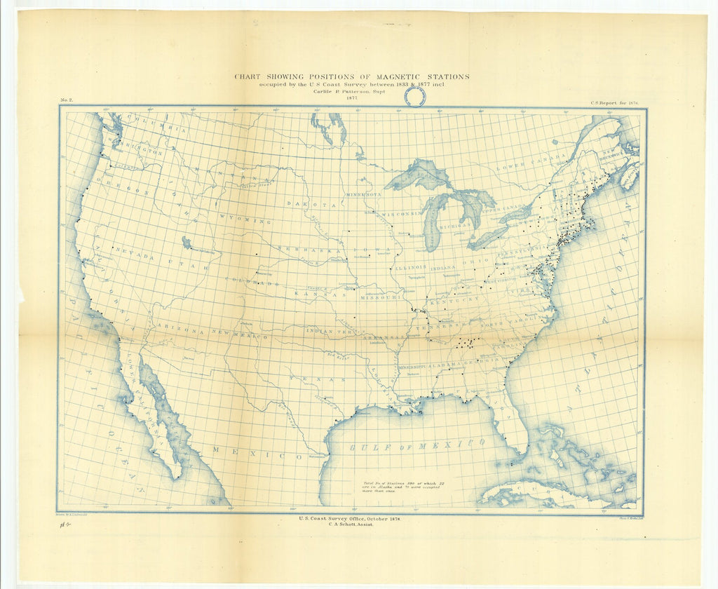 18 x 24 inch 1878 US old nautical map drawing chart of Chart Showing Positions of Magnetic Stations Occupied by the U.S. Coast Survey Between 1833 and 1877 From  U.S. Coast Survey x2194