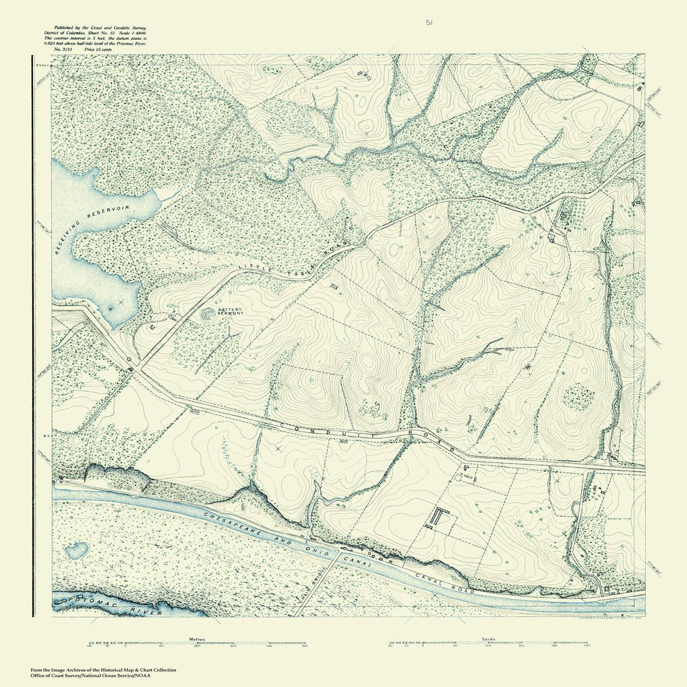 18 x 24 inch 1888 US old nautical map drawing chart of Topographic Map of Washington and Vicinity, Sheet 52 From  NOAA x671