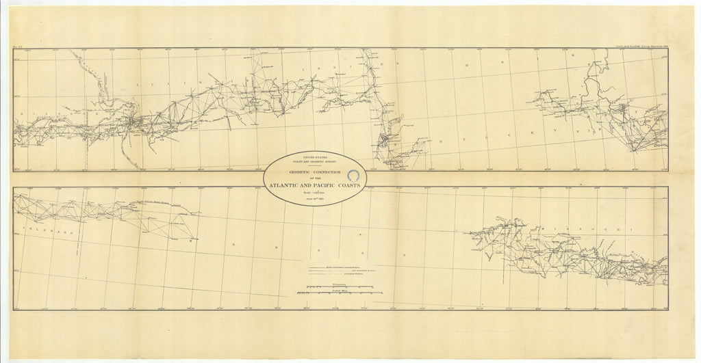 18 x 24 inch 1883 US old nautical map drawing chart of Geodetic Connection of the Atlantic and Pacific Coasts, Illinois and Missouri with Continuation Eastward and Continuation Westward From  US Coast & Geodetic Survey x1811