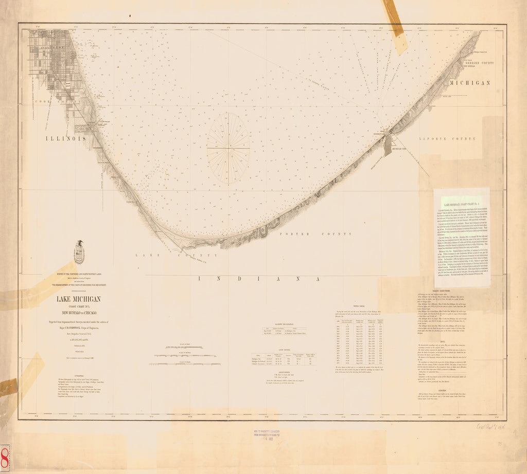 18 x 24 inch 1892 US old nautical map drawing chart of LAKE MICHIGAN From  Lake Survey x1797