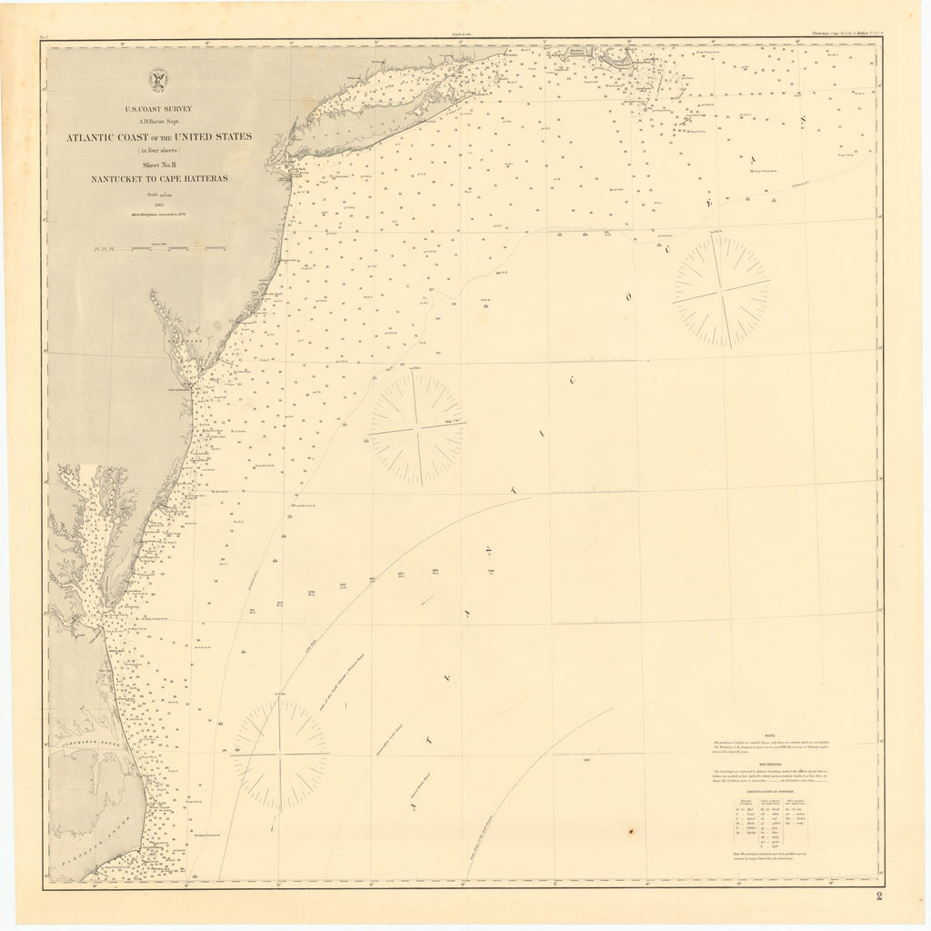 18 x 24 inch 1878 US old nautical map drawing chart of ATLANTIC COAST OF THE UNITED STATES, NANTUCKET TO CAPE HATTERAS From  US Coast & Geodetic Survey x1964