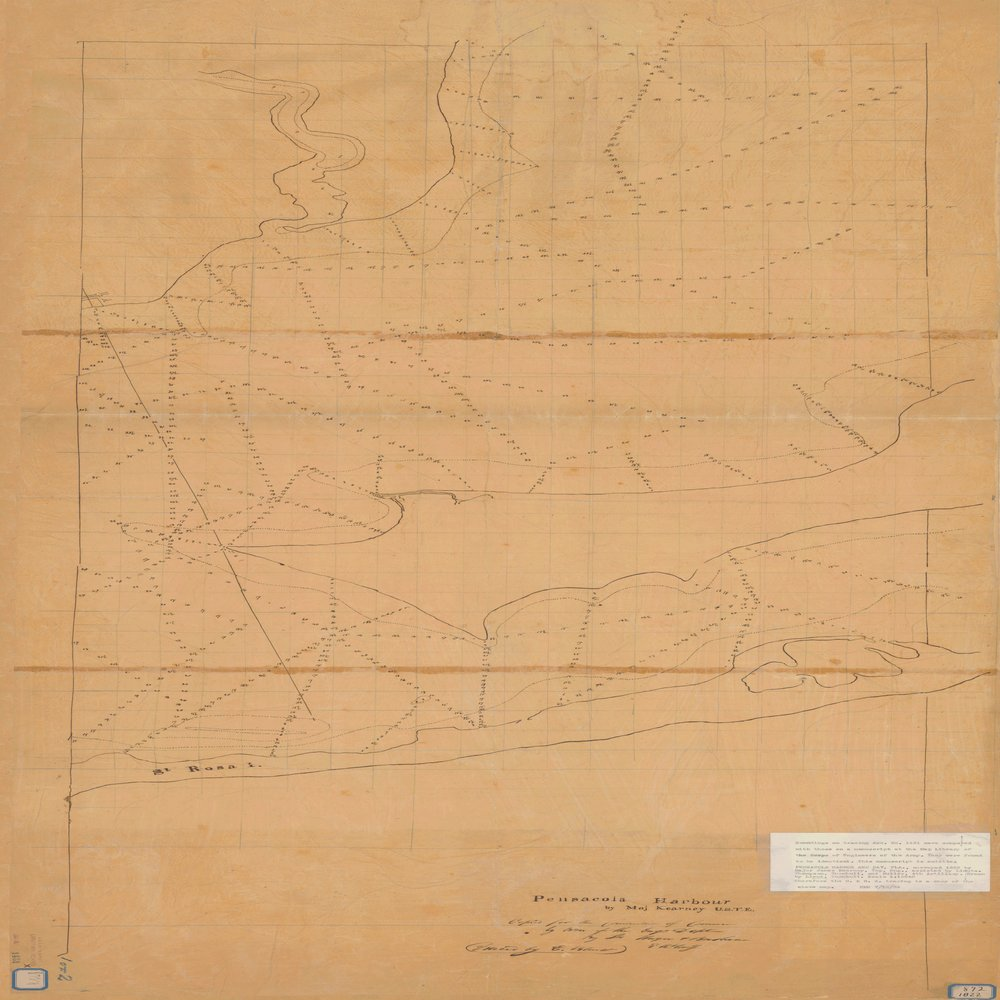 18 x 24 inch 1822 US old nautical map drawing chart of PENSACOLA HARBOR MAP 1 OF 2 From  NOAA x751