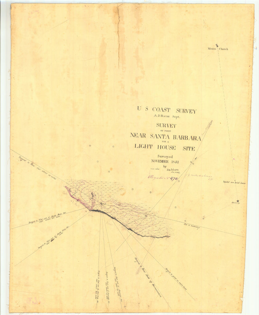 18 x 24 inch 1854 US old nautical map drawing chart of Survey of Point Near Santa Barbara for a Light House Site From  U.S. Coast Survey x1651