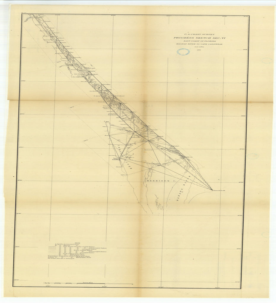 18 x 24 inch 1875 US old nautical map drawing chart of Progress Sketch, Section 6, East Coast of Florida, Halifax River to Cape Canaveral From  U.S. Coast Survey x2535