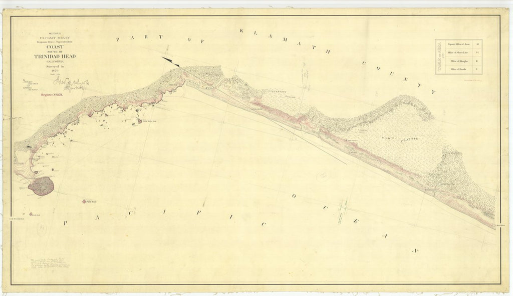18 x 24 inch 1870 US old nautical map drawing chart of South of Trinidad Head From  U.S. Coast Survey x438