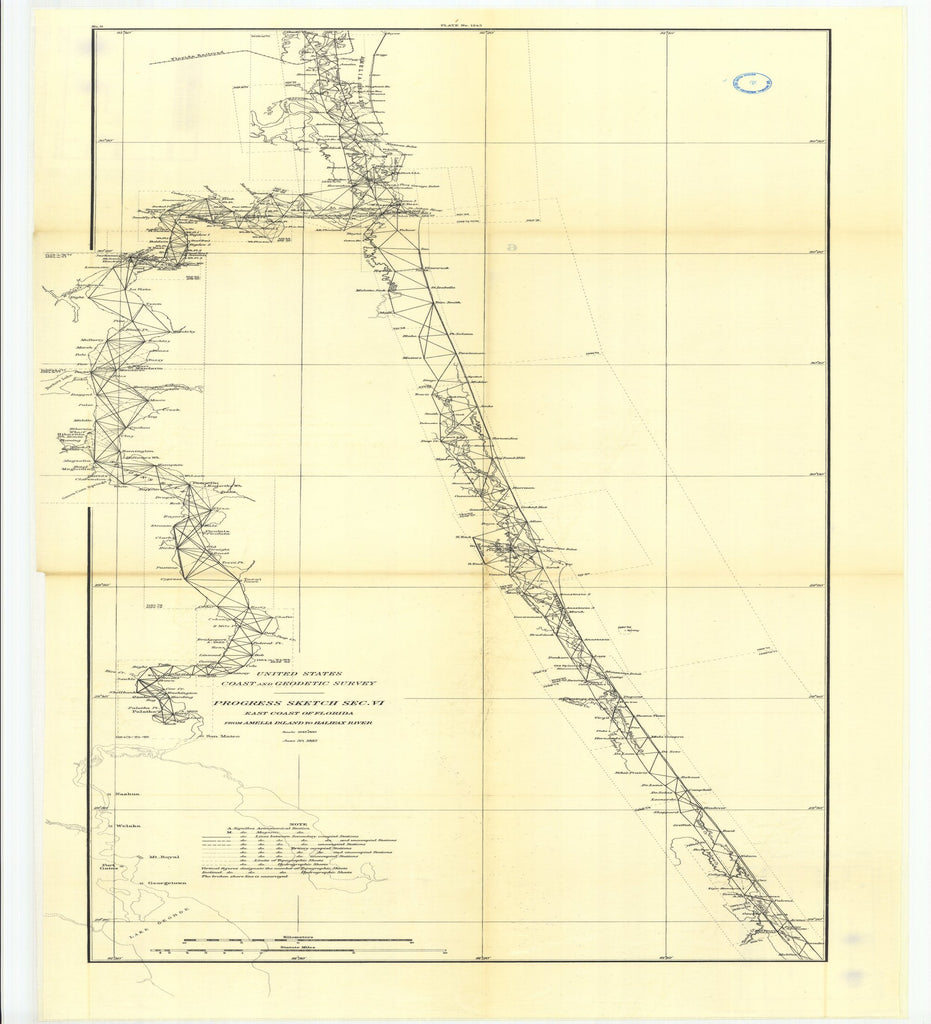 18 x 24 inch 1885 US old nautical map drawing chart of Part of Section VI. East Coast of Florida from Amelia Island to Halifax River. From  US Coast & Geodetic Survey x2567