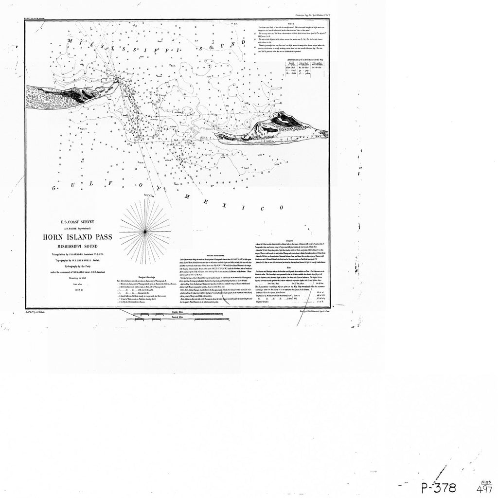 18 x 24 inch 1853 US old nautical map drawing chart of Horn Island Pass, Mississippi Sound From  U.S. Coast Survey x5435