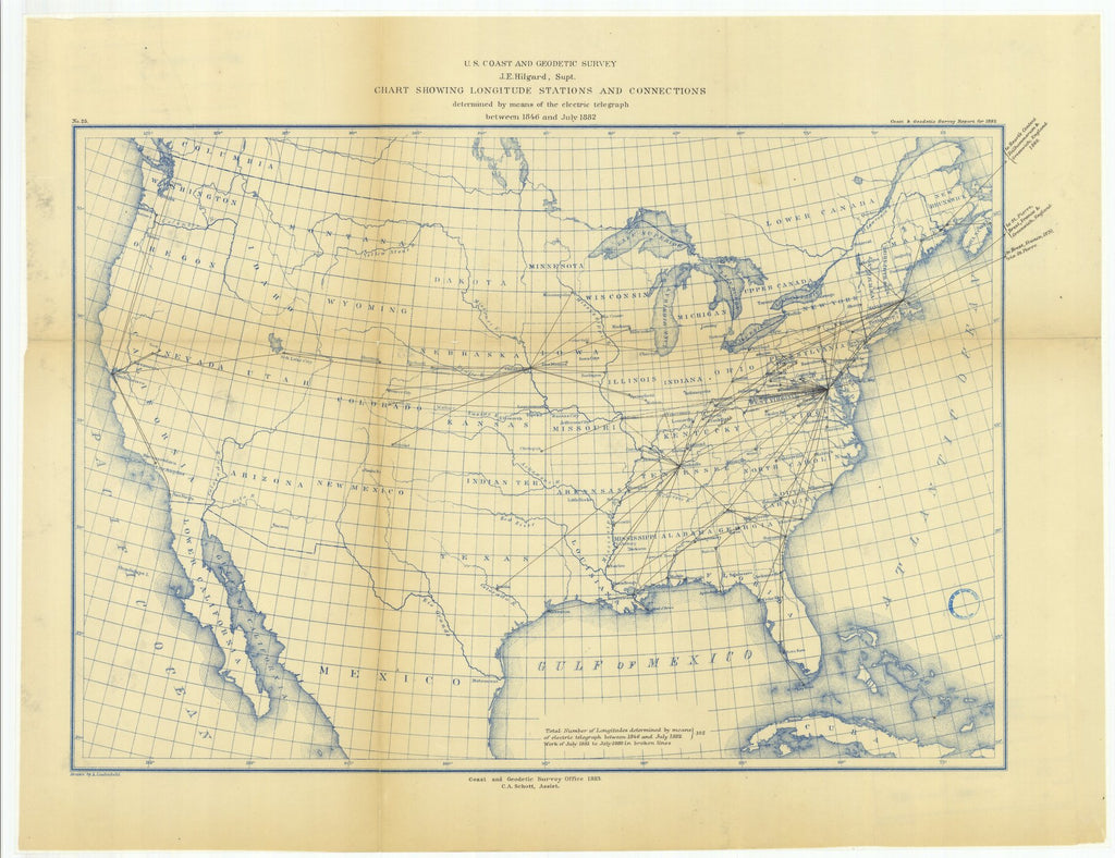 18 x 24 inch 1882 US old nautical map drawing chart of Chart Showing Longitude Stations and Connections Determined by Means of the Electric Telegraph Between 1846 and July 1882 From  US Coast & Geodetic Survey x1458
