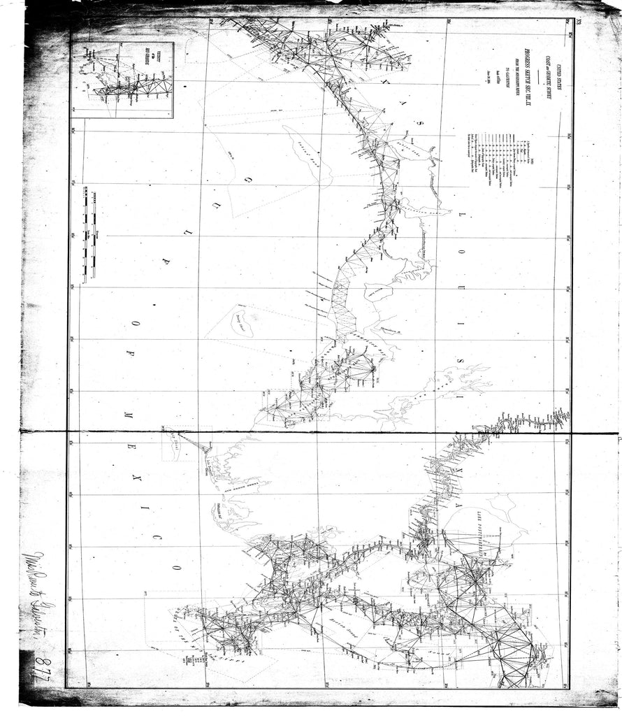 18 x 24 inch 1884 Texas old nautical map drawing chart of Progress Sketch Sec. VIII_IX from the Mississippi River to Galveston From  US Coast & Geodetic Survey x11737