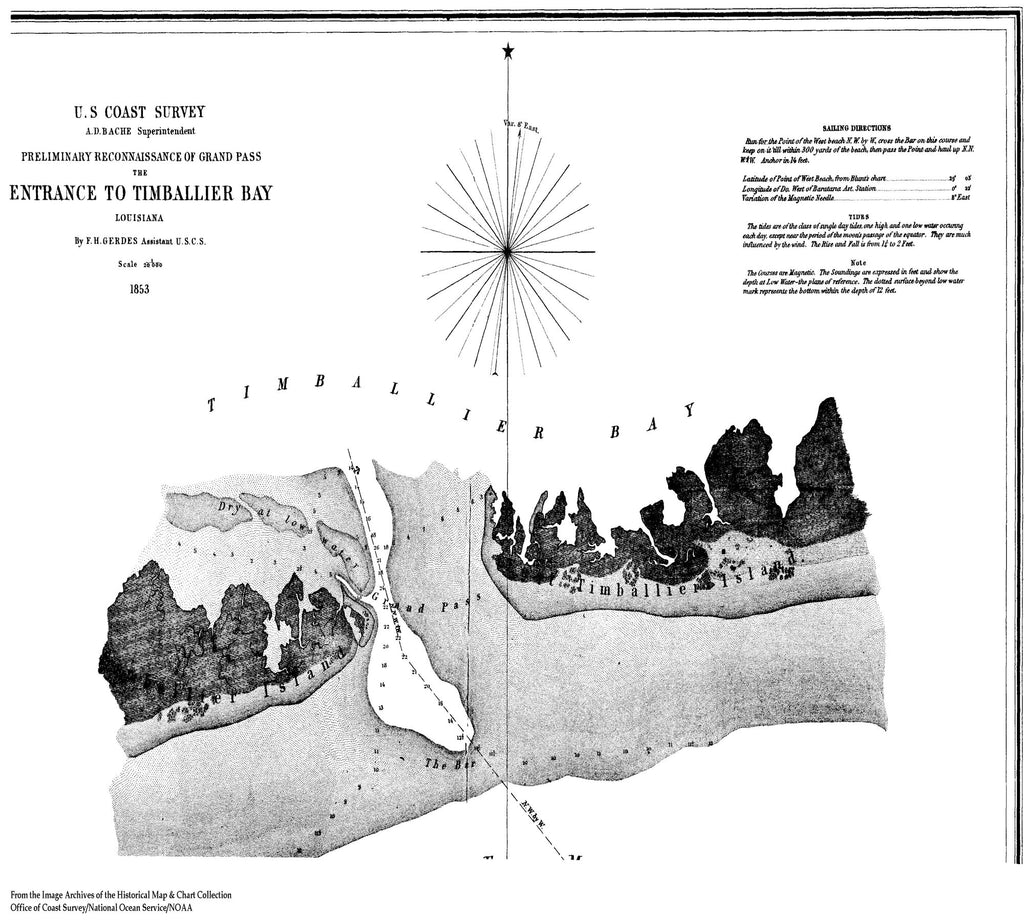 18 x 24 inch 1863 US old nautical map drawing chart of Preliminary Entrance to Timballier Bay From  U.S. Coast Survey x2014