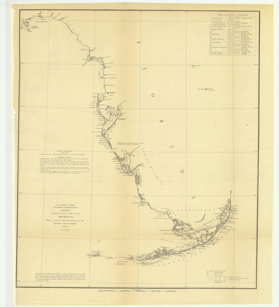 18 x 24 inch 1852 US old nautical map drawing chart of Sketch F Showing the Progress of the Survey in Section 6 with a General Reconnaissance of the Western Coast of Florida From  U.S. Coast Survey x3234