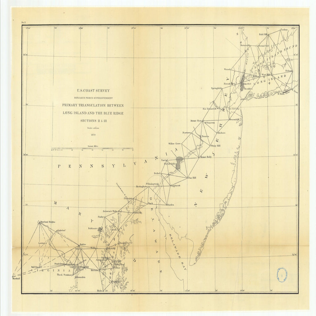 18 x 24 inch 1870 US old nautical map drawing chart of Primary Triangulation Between Long Island and the Blue Ridge Sections 2 and 3 From  U.S. Coast Survey x1950