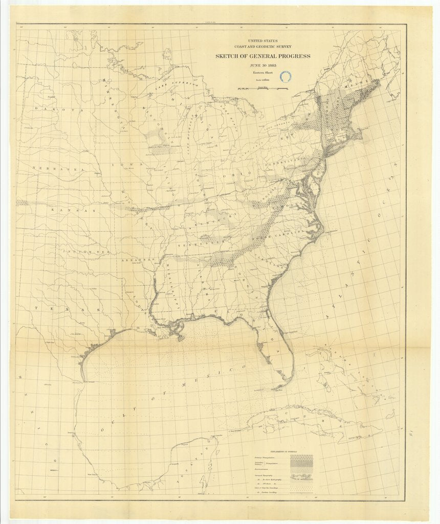 18 x 24 inch 1883 US old nautical map drawing chart of Sketch of General Progress, June 30, 1883, Eastern Sheet From  US Coast & Geodetic Survey x539