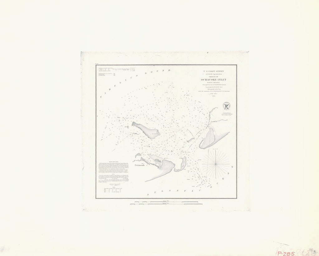 18 x 24 inch 1852 US old nautical map drawing chart of SKETCH OF OCRACOKE INLET From  U.S. Coast Survey x5923