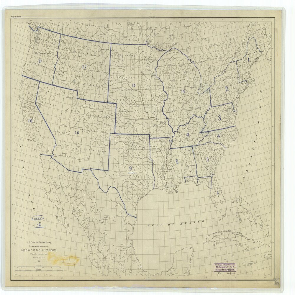 18 x 24 inch 1893 US old nautical map drawing chart of Base Map of the United States From  US Coast & Geodetic Survey x64