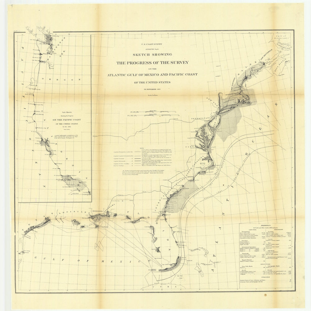 18 x 24 inch 1863 Rhode  Island old nautical map drawing chart of Sketch Showing the Progress of the Survey on the Atlantic Gulf of Mexico and Pacific Coast of the United States to November 1863.. From  U.S. Coast Survey x8935