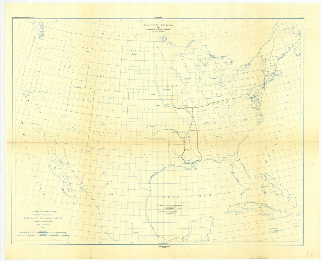 18 x 24 inch 1893 USA old nautical map drawing chart of No. 7. Map showing lines of geodetic leveling run and positions of gravity Stations to June 30,1893. From  US Coast & Geodetic Survey x12084