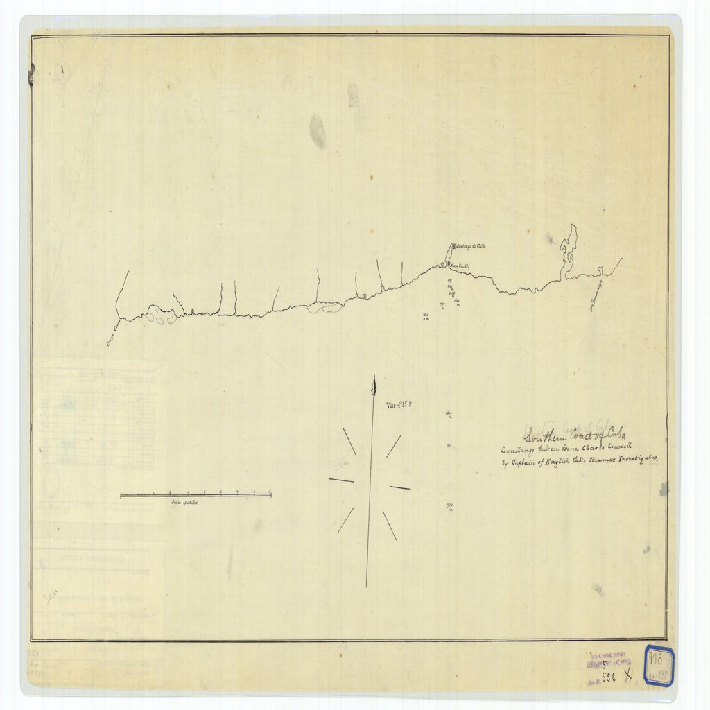 18 x 24 inch 1898 OTHER old nautical map drawing chart of Southern Coast of Cuba From  NOAA x7334
