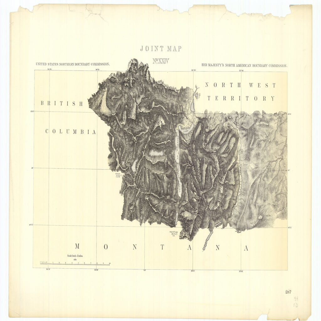18 x 24 inch 1878 OTHER old nautical map drawing chart of Joint Maps of the Northern Boundary of the United States from the Lake of the Woods to the Summit of the Rocky Mountains From  NORTH AMERICAN BOUNDARY COMMISSION x7343