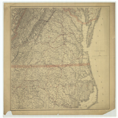 18 x 24 inch 1865 US old nautical map drawing chart of Civil War Map From  U.S. Coast Survey x4912