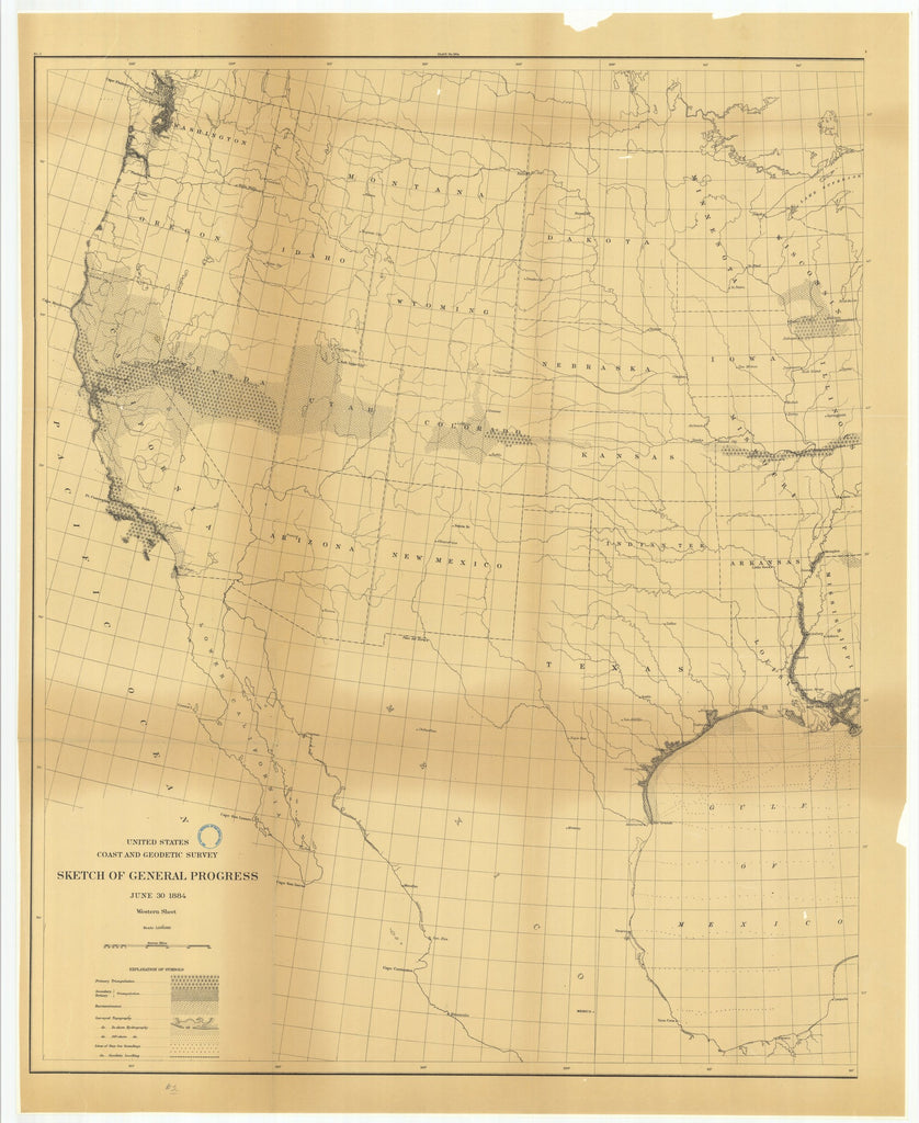 18 x 24 inch 1884 US old nautical map drawing chart of Sketch of General Progress, June 30, 1884, Western Sheet From  US Coast & Geodetic Survey x1856